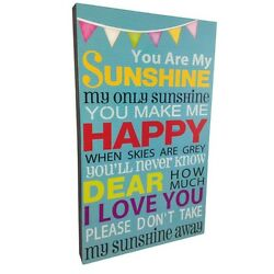 Large You Are My Sunshine Wall Frame H 40 cm Typography Art Print Picture Blue