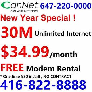 LOWEST price - Unlimited internet plans 30M $35/month, No contract, $30 installation, Call 416-822-8888 or 613-812-8888