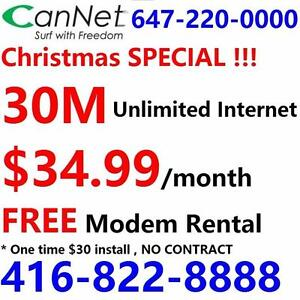 LOWEST price - Unlimited internet plans starting from 5M $25/month ,or 100M for $55/month, No contract, $30 installation