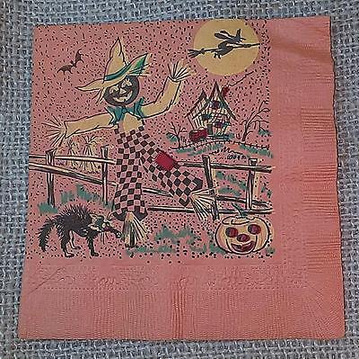Vintage HALLOWEEN PAPER NAPKIN Scarecrow~Cat~Witch~JOL Graphics 5