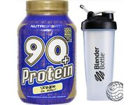 Nutrisport 90+ Protein 1kg Whey Protein Isolate Shake 908g Inc Shaker & Free Delivery
