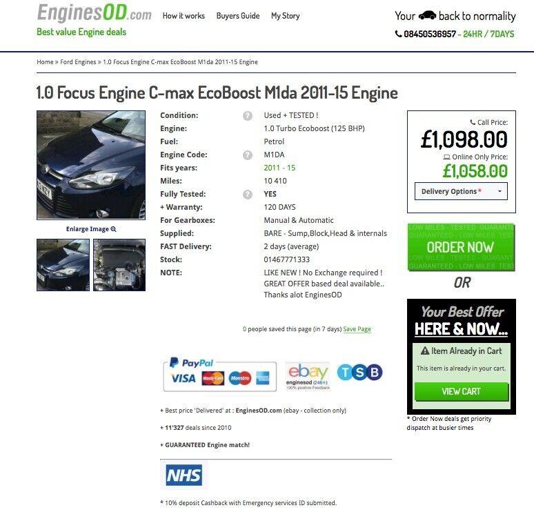 1 0 Focus Engine Ford FIESTA (EcoBoost) M2da M1da M1JE 2011-15 Petrol  Engine | in Clowne, Derbyshire | Gumtree