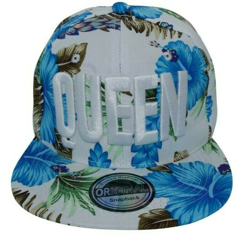 Damenkappe Cappy Kappe Cap Basecap Damen Freizeit Hut Königin QUEEN Hawaii blau
