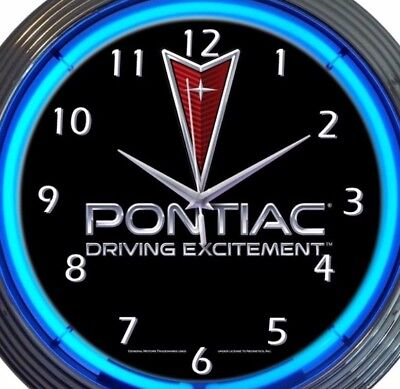 Pontiac Auto Glass (Pontiac Driving Excitement Car Auto Neon Clock 15 Inch Office Game Room)