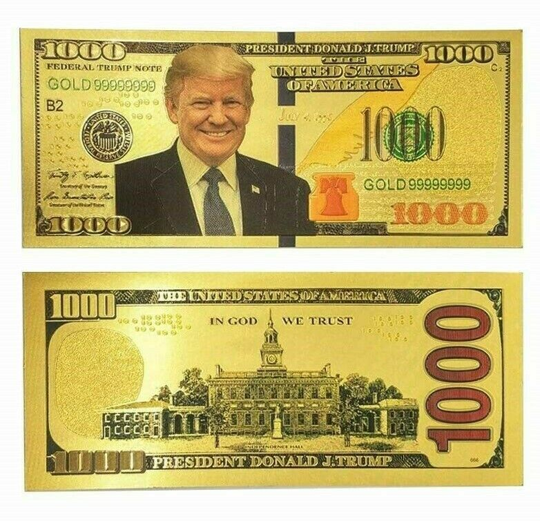 Donald Trump Authentic 24kt Gold Plated Embossed Commemorative $100 Bank Note