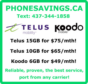 TELUS AND KOODO CELL PHONE RATE PLANS! BEST VALUE, FAST SERVICE!