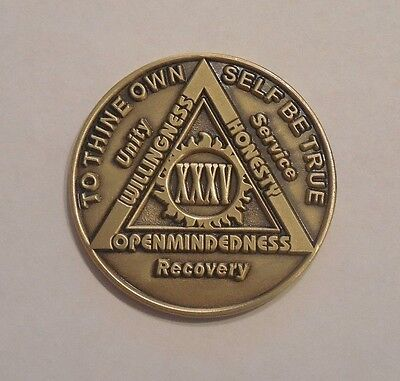 aa bronze alcoholics anonymous 35 year sobriety chip coin token medallion  for sale  Shipping to Canada