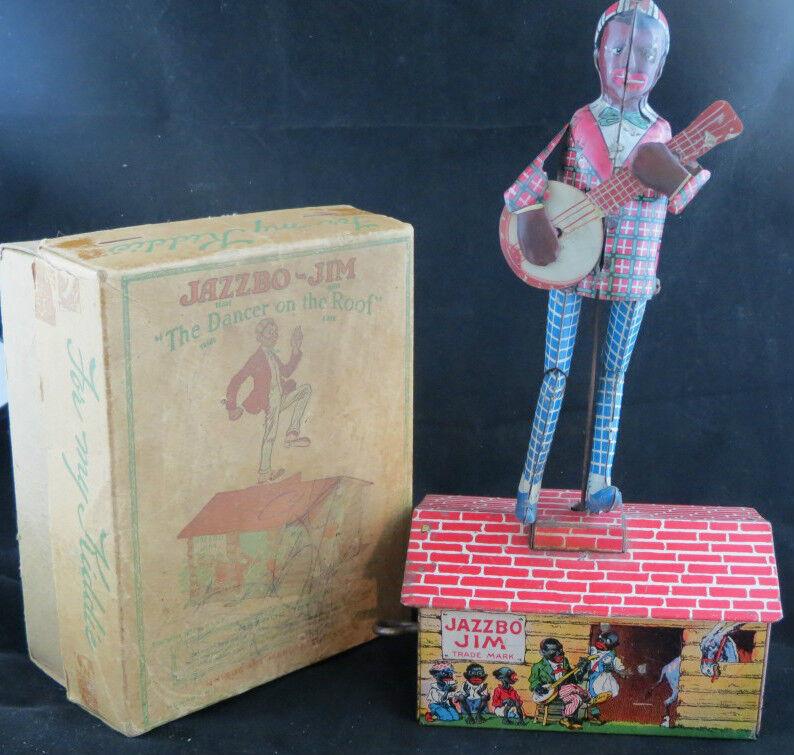 Jazzbo Jim w Original Box Still Works 1921 Vintage Toy Unique Art Dancing n Roof