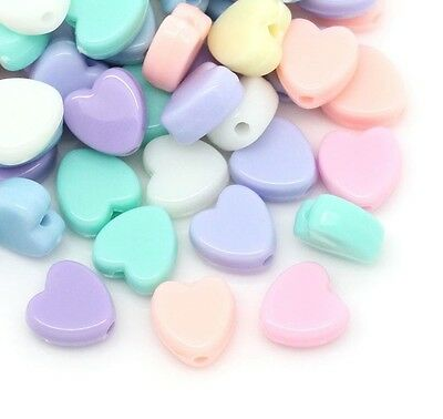 100 Pastel Heart Beads Acrylic 8mm Mixed Colours  Childrens Beads J28568