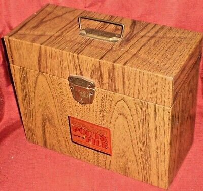 Vintage Ballonoff Personal Portable File Metal Woodgrain Storage Bin Box NO KEY - Personalized Storage Bins