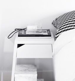 2x White Ikea Selje Bedside Tables - Perfect Condition - Collection Only