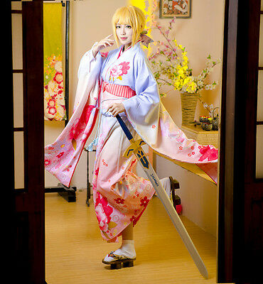 Saber Cosplay Kostüm (Fate stay night Saber Custom Furisode Kimono Yukata Dress Kostüm Cosplay Costume)