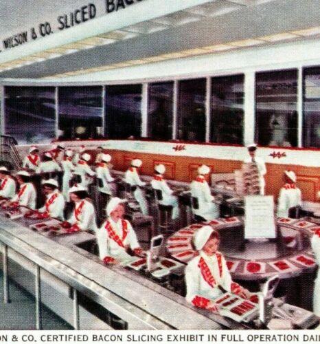 1933 Century Of Progress Postcard The Wilson & Co. Bacon Slicing Exhibit