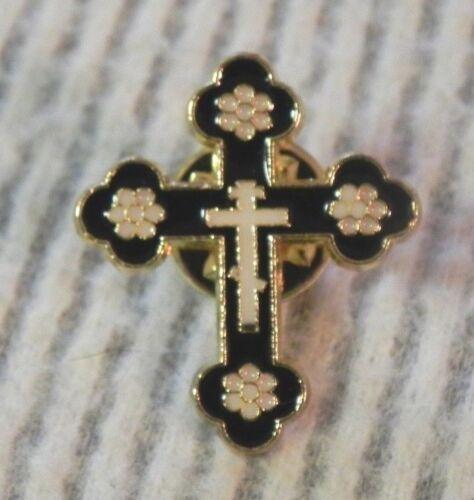 BUDDED CROSS Pin Black Enamel Lapel Brooch Badge Christian Orthodox NEW Nice