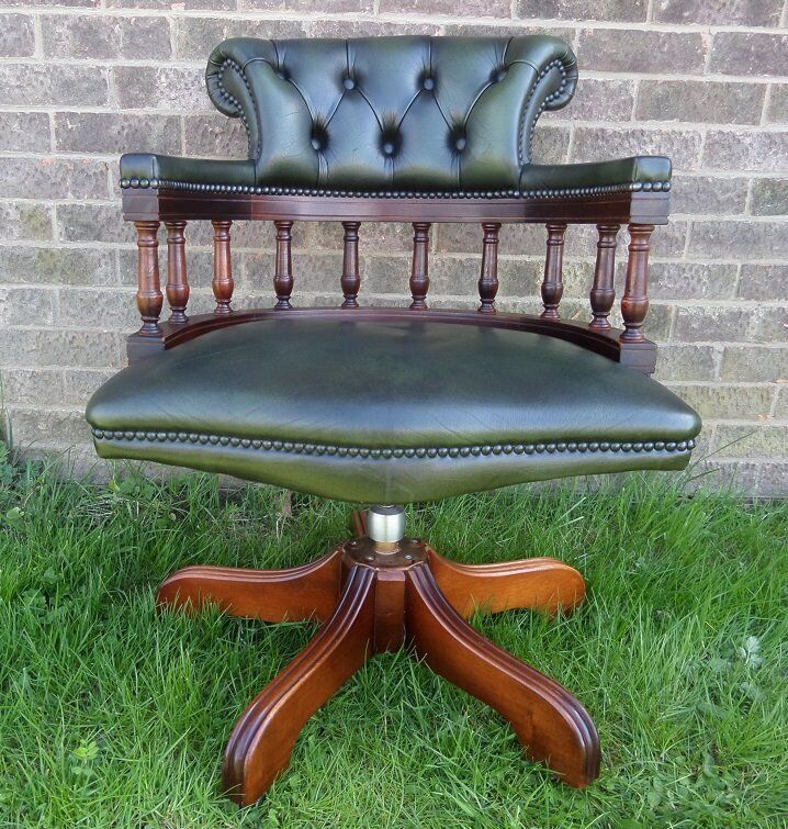 Stunning Vintage Chesterfield Captains Desk Chair Green Leather Uk Delivery