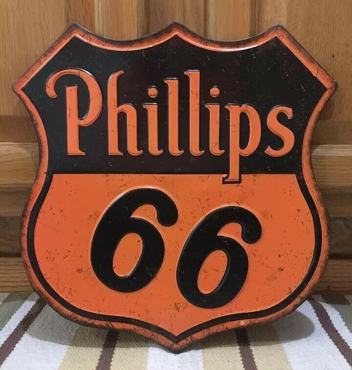 Phillips 66 Sign Gas Oil Pump Can Car Truck Wall Decor Vintage Style