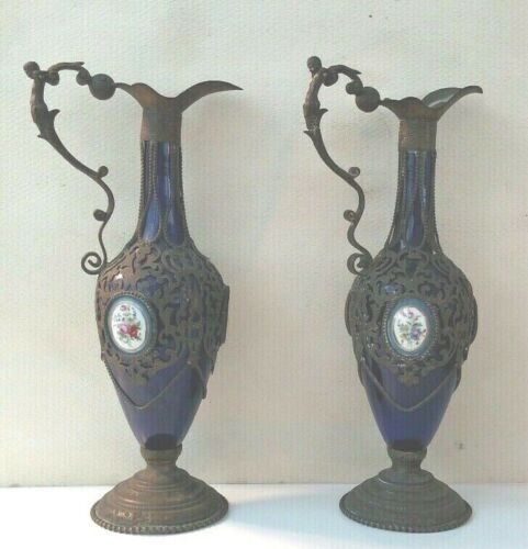 Nice pair of Antique cobalt porcelain ewer with figural handles mounted French ?