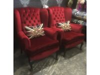 Fantastic Pair of Chesterfield Red Queen Anne Wing Back Chairs - Uk Delivery