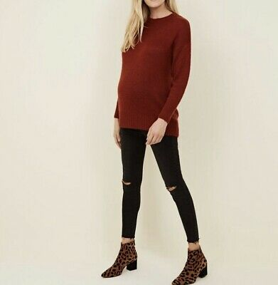 Maternity Rust Knitted Jumper winter Christmas size S NEW new look - Maternity Christmas Sweaters