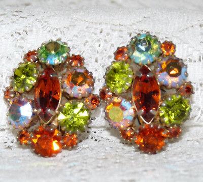 Pretty KARU ARKE Vintage Multicolored Glass Rhinestone Clip-On Earrings  II20