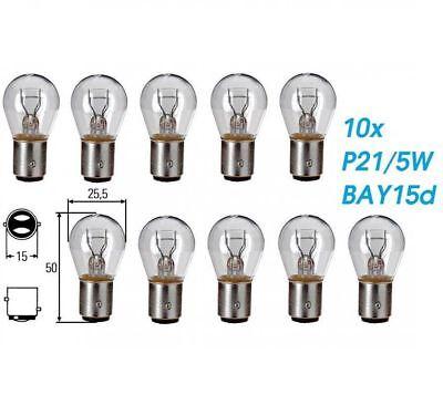 10x P21/5W BAY15d 21/5W 12V Dual Sockel Glühlampe Birne Soffitte Auto Lampe Glas