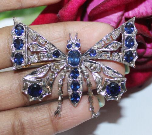 1.40ct Rose Cut Diamond 925 Silver Antique Victorian look Sapphire Brooch Pin