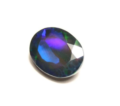 2.48ct Faceted Black Welo Opal Rainbow Flash Natural Ethiopian Opal Video 11x8mm