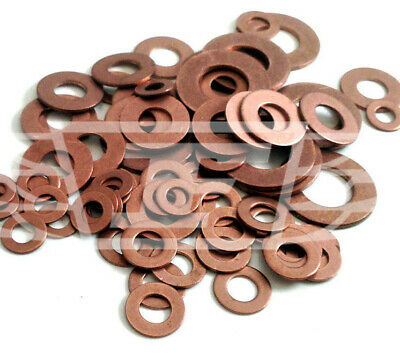 25 x SOLID COPPER WASHER KIT - 5 of each M5 M6 M8 M10 M12 SUMP PLUG BANJO BOLT