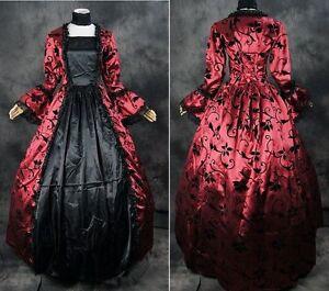v-06-gr-S-M-Negro-Rojo-Rojo-Victoriano-Lolita-Gotica-Vestido-disfraz