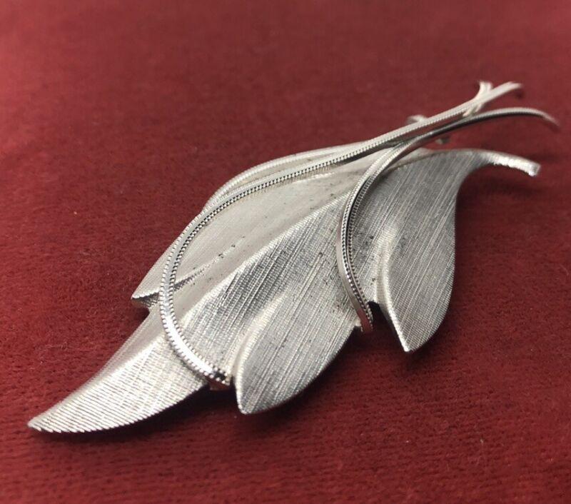 Vintage Sterling Silver Brooch Pin 925 Mid Century Signed Flower Dec? Pendant