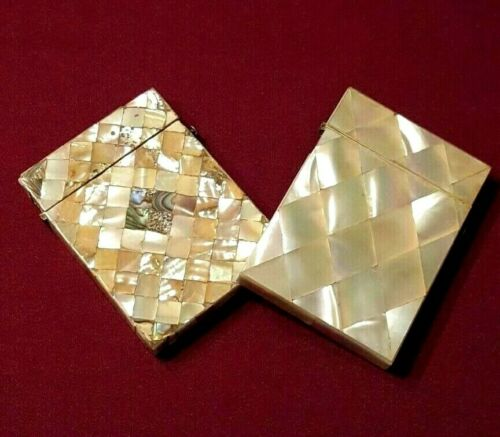 Antique Victorian Calling Card Cases with Mother-of-pearl Veneer