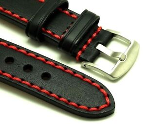 22mm Black HQ Leather Red Thick Stitching Watch Replacement Strap - U-Boat 22mm