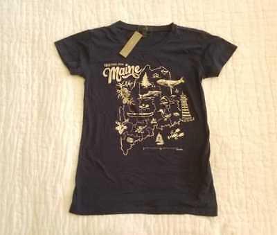 New Womens Xs S J Crew Maine Destination Art Navy T Shirt G3490