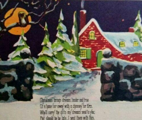 Vintage Halloween Haunted Christmas Postcard Orange Moon Owl Snow Unused W 589