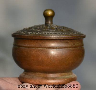 8CM Xuande Marked Old China Copper Dynasty Dragon Pot Jar Incense Burner Censer