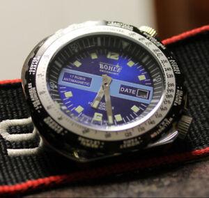 NOS Bohle Oeconomic handwinding manuel diver watch world timer