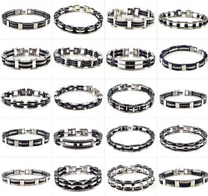Wholesale jewelry Lots Silver rubber Stainless Steel Charm Lady  Men Bracelets