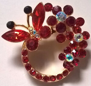 Ruby Red and Burgandy Rhinestones Butterfly, Flowers Brooch