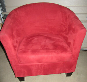 2 SUEDE BARREL CHAIRS Stratford Kitchener Area image 4