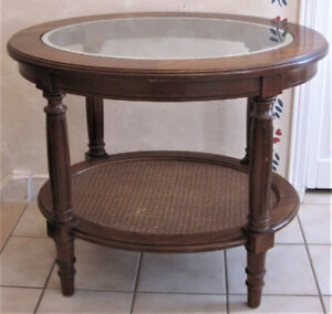 Two Mid-Century Solid Wood And Rattan 2-Tier Oval Tables