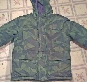 Green and Black winter jacket size 8