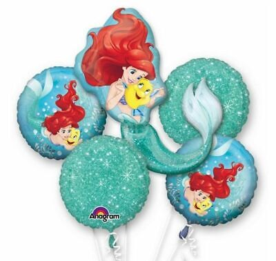 Ariel Balloons (Ariel Little Mermaid 5pc Bouquet Birthday Party Foil Balloons)