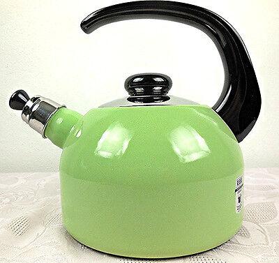 Flötenkessel Wasserkocher Teekessel Riess Email Kocher Topf 2l lindgrün (Tee-topf Für Induktion Herd)