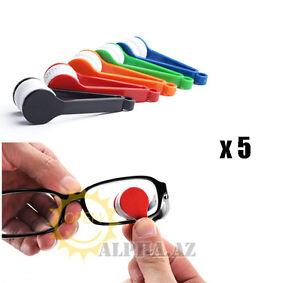 5X Microfiber Clip Cleaner Brush Wiper f. Glasses Eyeglass Sunglasses Lens Optic