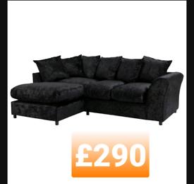 Left corner. Crushed velvet sofa. Black