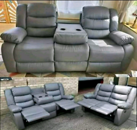 Grey bonded leather Recliner 3&2 seater sofa set New free local delive