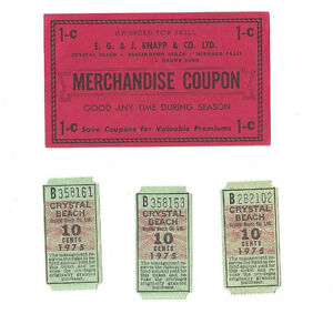 OLDER CRYSTAL BEACH TICKETS ~ MERCHANDISE COUPON