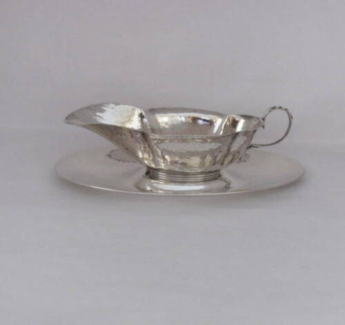 c1900 GORHAM Sterling Hand-Hammered Sauce Boat / Underplate A9190 A9189
