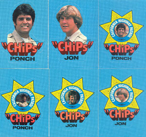 1979 CHIPS 60 CARDS AND 6 STICKER SET
