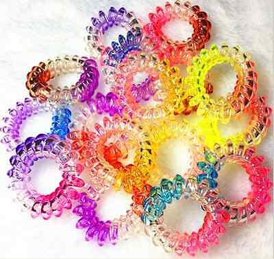 HR14 Hair Bands Elastics Bracelets Hair Ties Spiral Slinky Elastic Rubber rope - Slinky Hair Ties